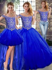 Ideal Floor Length Royal Blue Quinceanera Dress Tulle Sleeveless Beading and Ruffles