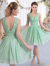 Fitting Knee Length Apple Green Quinceanera Court Dresses Chiffon Sleeveless Beading