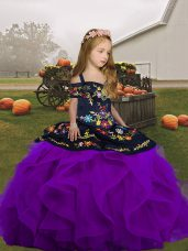 Great Embroidery and Ruffles Little Girls Pageant Dress Wholesale Purple Lace Up Sleeveless Floor Length