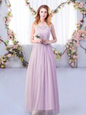 Gorgeous Floor Length Lavender Quinceanera Court of Honor Dress Tulle Sleeveless Lace and Belt