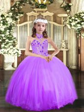 Lavender Halter Top Neckline Appliques Kids Pageant Dress Sleeveless Lace Up