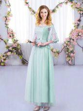 Light Blue Tulle Side Zipper Off The Shoulder Half Sleeves Floor Length Dama Dress Lace and Belt