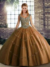 Brown Sleeveless Floor Length Beading and Appliques Lace Up Vestidos de Quinceanera