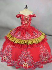 Traditional Red Sleeveless Embroidery Floor Length Vestidos de Quinceanera