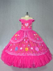 Sophisticated Hot Pink Sleeveless Organza Lace Up Ball Gown Prom Dress for Sweet 16 and Quinceanera