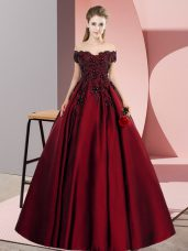 Glittering Wine Red Zipper Off The Shoulder Lace Sweet 16 Quinceanera Dress Satin Sleeveless