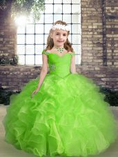 Popular Straps Neckline Beading and Ruffles Juniors Party Dress Sleeveless Lace Up