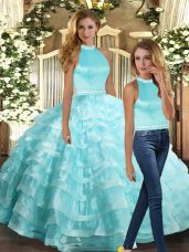 Shining Floor Length Ball Gowns Sleeveless Aqua Blue 15 Quinceanera Dress Backless