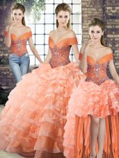 Peach Lace Up Off The Shoulder Beading and Ruffled Layers 15 Quinceanera Dress Organza Sleeveless Brush Train