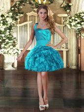 Exquisite Sleeveless Organza Mini Length Lace Up Prom Evening Gown in Turquoise with Ruffles