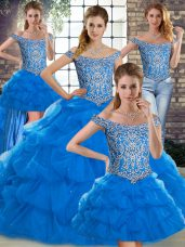 Excellent Blue Off The Shoulder Lace Up Beading and Pick Ups Quince Ball Gowns Brush Train Sleeveless