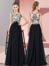 Lovely Empire Vestidos de Damas Black Scoop Chiffon Sleeveless Floor Length Zipper