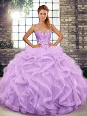 Romantic Lavender Lace Up Sweetheart Beading and Ruffles Sweet 16 Dress Tulle Sleeveless