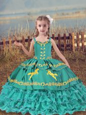 Floor Length Teal Teens Party Dress Organza Sleeveless Beading and Embroidery and Ruffled Layers