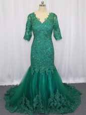 Beauteous Half Sleeves Brush Train Lace and Appliques Lace Up Prom Dresses