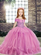Lilac Tulle Lace Up Straps Sleeveless Floor Length Kids Pageant Dress Beading