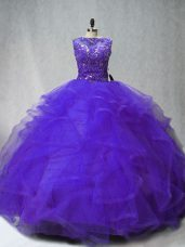 Great Purple Ball Gowns Scoop Sleeveless Tulle Brush Train Lace Up Beading and Ruffles 15 Quinceanera Dress
