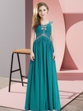 Discount Straps Cap Sleeves Prom Gown Floor Length Beading Teal Chiffon
