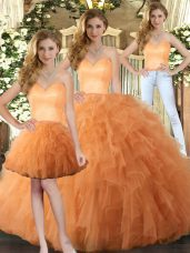 Ruffles Quinceanera Dresses Orange Lace Up Sleeveless Floor Length
