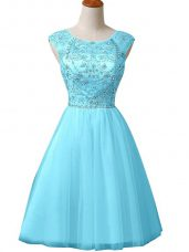 Baby Blue Sleeveless Tulle Zipper Homecoming Party Dress for Prom and Party and Military Ball