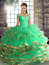 Glittering Tulle Sleeveless Floor Length Sweet 16 Quinceanera Dress and Beading and Ruffled Layers