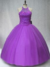 Floor Length Purple Quinceanera Dresses Tulle Sleeveless Beading