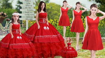 Artistic Strapless Sleeveless Lace Up Quinceanera Gown Red Satin and Organza