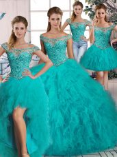 Extravagant Aqua Blue Lace Up Off The Shoulder Beading and Ruffles Quince Ball Gowns Tulle Long Sleeves Brush Train