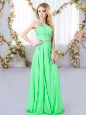 Floor Length Green Wedding Guest Dresses One Shoulder Sleeveless Zipper