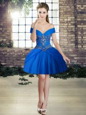 Attractive Royal Blue Lace Up Off The Shoulder Beading Prom Dress Tulle Sleeveless