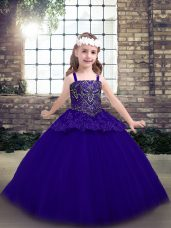Purple Tulle Lace Up Little Girl Pageant Gowns Sleeveless Floor Length Beading