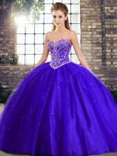 Custom Made Blue Tulle Lace Up 15 Quinceanera Dress Sleeveless Brush Train Beading