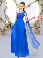 Edgy Chiffon One Shoulder Sleeveless Lace Up Beading and Hand Made Flower Bridesmaids Dress in Royal Blue