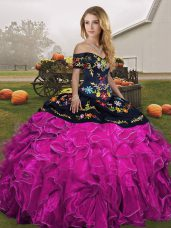 New Arrival Fuchsia Ball Gowns Organza Off The Shoulder Sleeveless Embroidery and Ruffles Floor Length Lace Up Sweet 16 Dresses