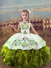 Olive Green Scoop Lace Up Embroidery and Ruffles Girls Pageant Dresses Sleeveless