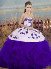 Floor Length Lace Up Sweet 16 Quinceanera Dress White And Purple for Military Ball and Sweet 16 and Quinceanera with Embroidery and Ruffles and Bowknot