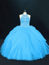 Aqua Blue Sleeveless Beading Floor Length Sweet 16 Dress