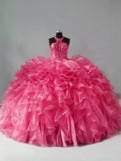 Hot Pink Quince Ball Gowns Halter Top Sleeveless Zipper