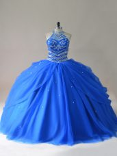 Most Popular Royal Blue Quinceanera Dress Sweet 16 and Quinceanera with Beading Halter Top Sleeveless Lace Up