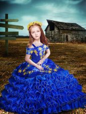 Luxurious Royal Blue Short Sleeves Organza Lace Up Little Girl Pageant Dress for Wedding Party