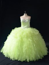 Fantastic Yellow Green Sleeveless Beading and Ruffles Floor Length Quince Ball Gowns