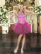 Customized Tulle Halter Top Sleeveless Lace Up Beading and Ruffles Homecoming Dresses in Fuchsia