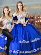Satin and Organza Sweetheart Sleeveless Lace Up Beading and Embroidery Sweet 16 Quinceanera Dress in Royal Blue
