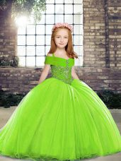 Amazing Lace Up Evening Gowns for Party and Sweet 16 and Wedding Party with Beading Brush Train