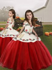 Luxurious Floor Length Ball Gowns Sleeveless Red Little Girls Pageant Dress Lace Up