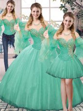 Turquoise Ball Gown Prom Dress Sweet 16 and Quinceanera with Beading Sweetheart Sleeveless Lace Up