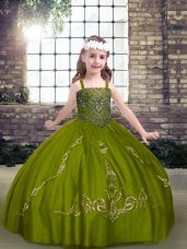 Fantastic Olive Green Ball Gowns Beading Little Girls Pageant Gowns Lace Up Tulle Sleeveless Floor Length