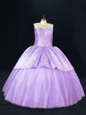 Vintage Beading Quinceanera Gowns Lavender Lace Up Sleeveless Floor Length