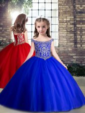 Elegant Royal Blue Off The Shoulder Lace Up Beading Girls Pageant Dresses Sleeveless