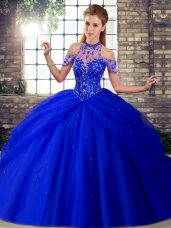 Dazzling Royal Blue Tulle Lace Up Halter Top Sleeveless Quince Ball Gowns Brush Train Beading and Pick Ups